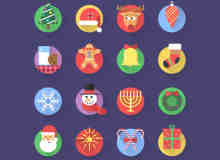 精美的投影式扁平化风格圣诞节图标PSD下载