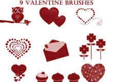 情人节爱心、纸杯蛋糕、猫头鹰、信封、鲜花等PS装扮笔刷
