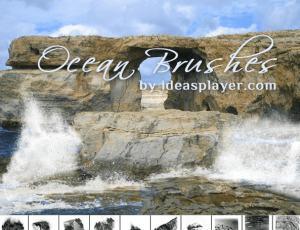 一组蓝天白云、大浪岩石、海岸线Photoshop笔刷