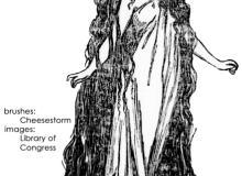 欧洲中世纪手绘女性图案PS笔刷