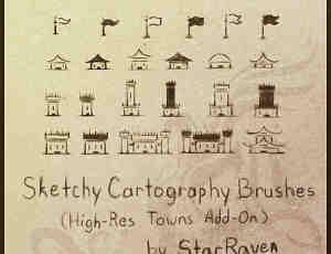 卡通城堡、箭塔、炮楼、营寨、旌旗等Photoshop笔刷