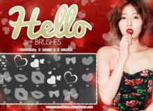红唇、爱心、蝴蝶结Photoshop情人节美图装扮笔刷