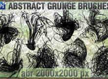 抽象混杂的线条涂划痕迹PS笔刷