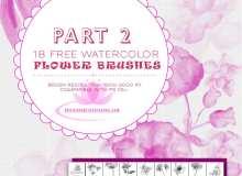 18种水彩、水粉花卉、鲜花绘画图形Photoshop笔刷 #.2