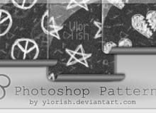 简单手绘五角星、爱心符号Photoshop填充图案底纹素材.pat 下载