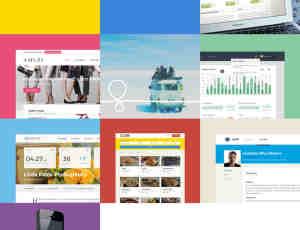 一组靓丽风格的企业展示网站PSD素材包下载