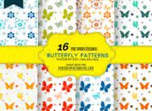 16种漂亮的小清新风格式蝴蝶与印花Photoshop填充图案底纹素材.pat