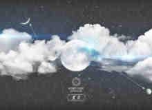 晚上的月亮与晚上的白云Photoshop笔刷