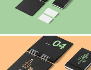 笔记本、记事本、台历、名片PSD素材