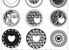 漂亮的爱心徽章图案Photoshop美图笔刷