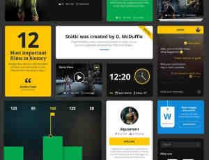 一组完备的酷黑主题风格web UI组合工具包素材下载