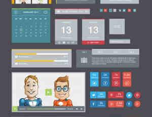 扁平化多彩web UI元素套件PSD素材