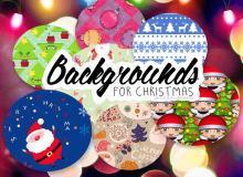 可无缝拼接!8种可爱圣诞节图形、背景填充图案PS素材下载