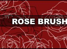 玫瑰花线条图案Photoshop笔刷素材