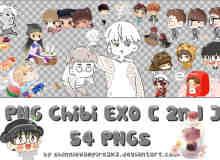 超级可爱的exo成员卡通肖像之美图秀秀png图片素材