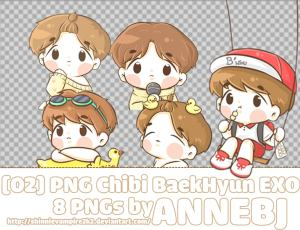 超级可爱的EXO成员卡通人物png美图秀秀素材
