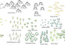 手绘小山、仙人掌、草地、树木、树桩PS笔刷素材
