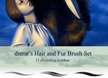 cg绘画式头发、长发、发丝Photoshop笔触笔刷素材