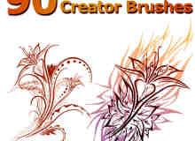 90种绚烂手绘植物印花图案饰品Photoshop笔刷素材
