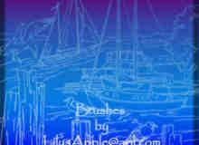手绘线框港口船只图案Photoshop笔刷
