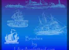 海盗船、帆船图案Photoshop笔刷素材