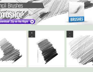 3种铅笔笔触Photoshop画笔笔刷下载
