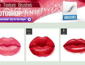 3个性感火热的红唇、女人嘴唇Photoshop笔刷素材下载