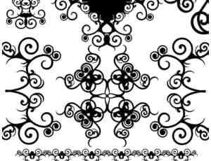 漂亮对称的漩涡式艺术印花图案Photoshop笔刷