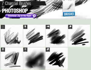 7种木炭笔触、碳笔、铅笔涂抹纹理Photoshop笔刷素材