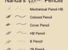 6种铅笔笔触状态Photoshop素描笔刷