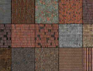 屋顶纹理、瓦片背景PS素材笔刷(图片素材)