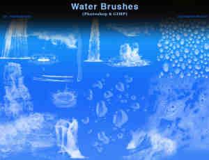 瀑布、水流、水珠子、露珠、水泡沫、水浪Photoshop笔刷