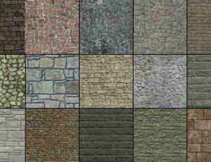石子路、石板路、石块路PS纹理笔刷(图片素材)
