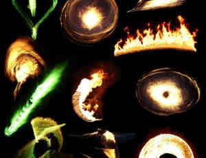 10种火焰光影特效、火圈火球燃烧效果Photoshop笔刷(PNG透明图片素材)