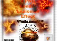 4种爆炸场景效果Photoshop笔刷下载(PNG图片素材)