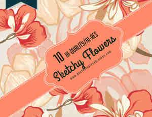 手绘鲜花图案、花卉图像Photoshop笔刷素材