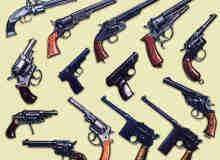 左轮手枪、老式手枪Photoshop枪械笔刷