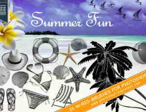 24种夏日海边主题元素Photoshop笔刷下载