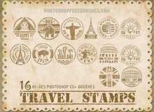 16种邮戳、世界旅游徽章Photoshop笔刷下载