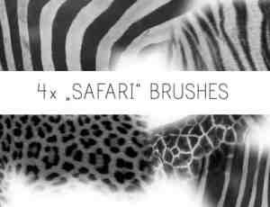 4种豹纹、斑纹、条纹皮毛纹理PS笔刷素材下载