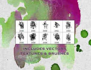 免费的水彩油漆污渍、滴溅化开效果Photoshop笔刷素材