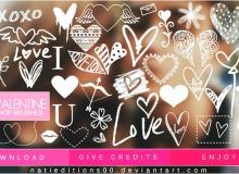 12种爱情涂鸦装饰PS美图笔刷下载