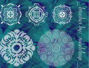 漂亮的古典民族花纹图案PS笔刷素材
