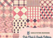 16种粉色格子布花纹图案Photoshop填充素材笔刷下载