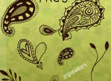 手绘佩斯利植物花纹图案PS笔刷下载
