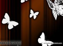 蝴蝶剪影图案PS笔刷下载