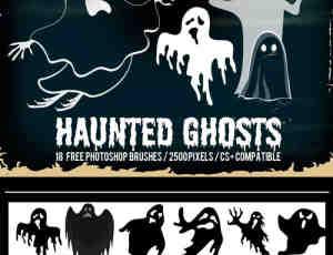 18个卡通万圣节幽灵Photoshop笔刷下载