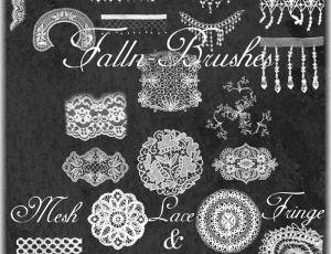 漂亮的蕾丝式花纹刺绣图案PS笔刷下载