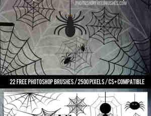 可爱卡通蜘蛛网、蜘蛛Photoshop笔刷下载