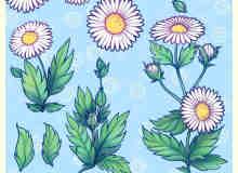 漂亮的手绘鲜花图案、野花Photoshop笔刷下载